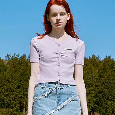 (TS-20317) CROP BOTTON T-SHIRT LAVENDER