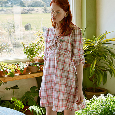 (OP-20313) CHECK SHIRRING PUFF-SLEEVE ONE-PIECE RED
