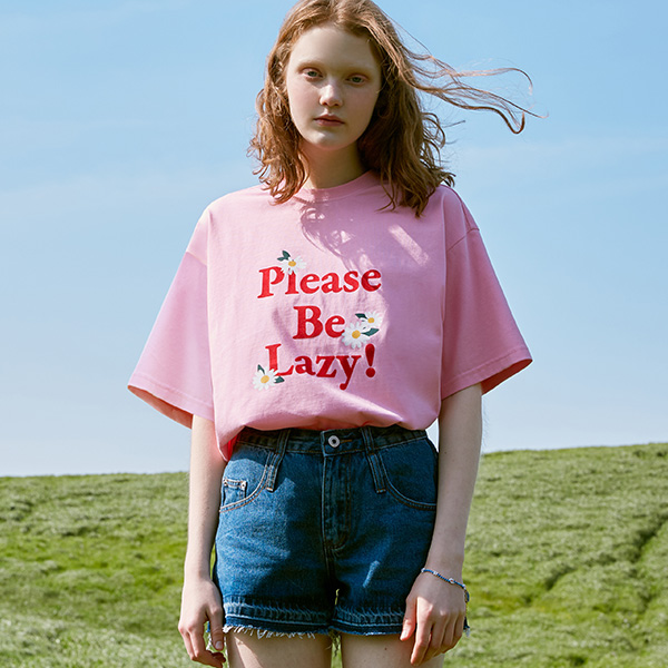 (TS-20304) PLEASE BE LAZY T-SHIRT PINK