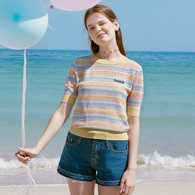 (KT-20327) RAINBOW KNIT PULLOVER MULTI