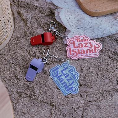 (LV-20322) ROLA LAZY ISLAND WHISTLE KEY RING LAVENDER