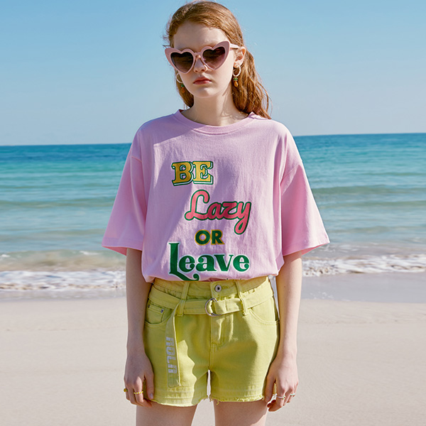 (TS-20322) BE LAZY OR LEAVE T-SHIRT PINK