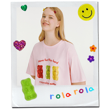 (TS-20335) ROLAROLA X HARIBO THREE JELLY T-SHIRT PINK