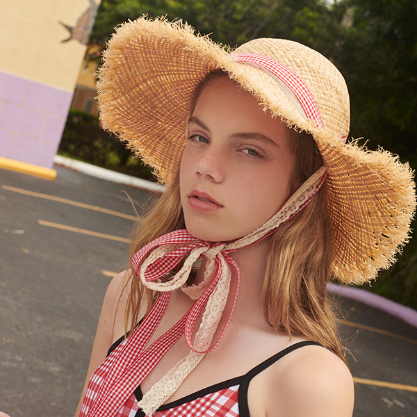 (CH-19312) LACE CHECK RIBBON STRAW HAT RED