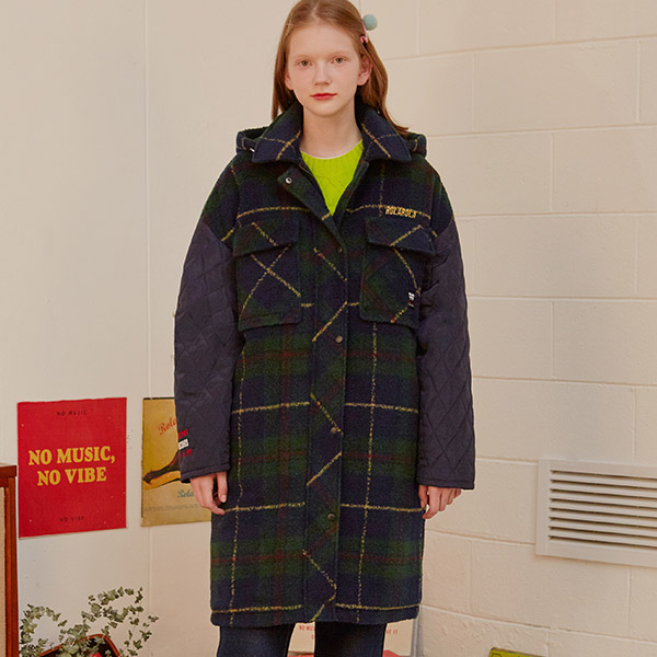 (CT-19703) CHECK SLEEVE QUILTING COAT GREEN