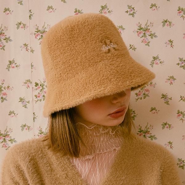 (CH-20703) FLUFFY BUCKET HAT BEIGE
