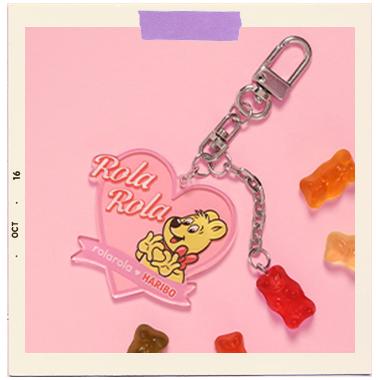 (LV-20513) ROLAROLA X HARIBO HEART KEY RING MULTI