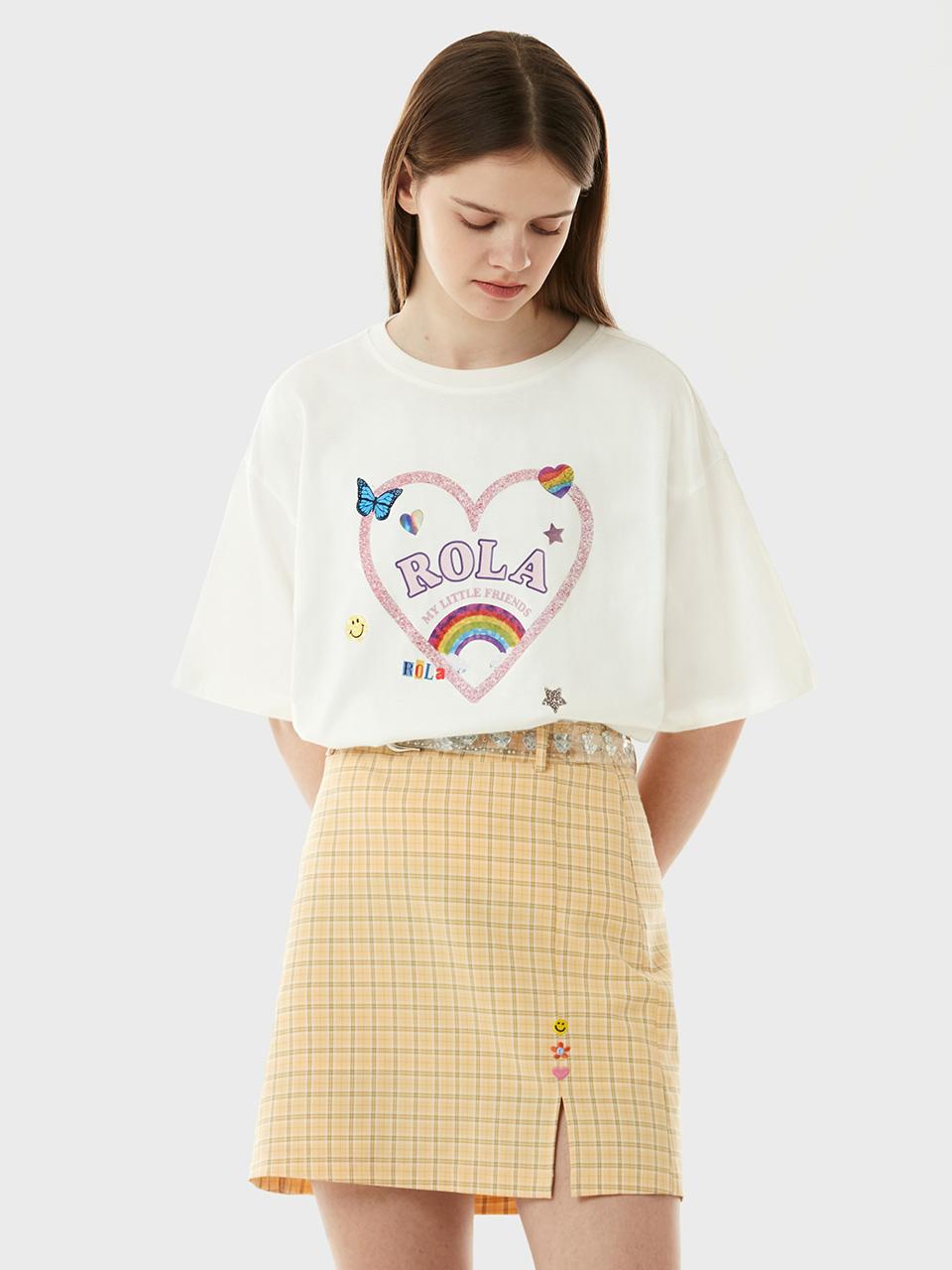 (TS-21306) ROLA RAINBOW HEART T-SHIRT WHITE