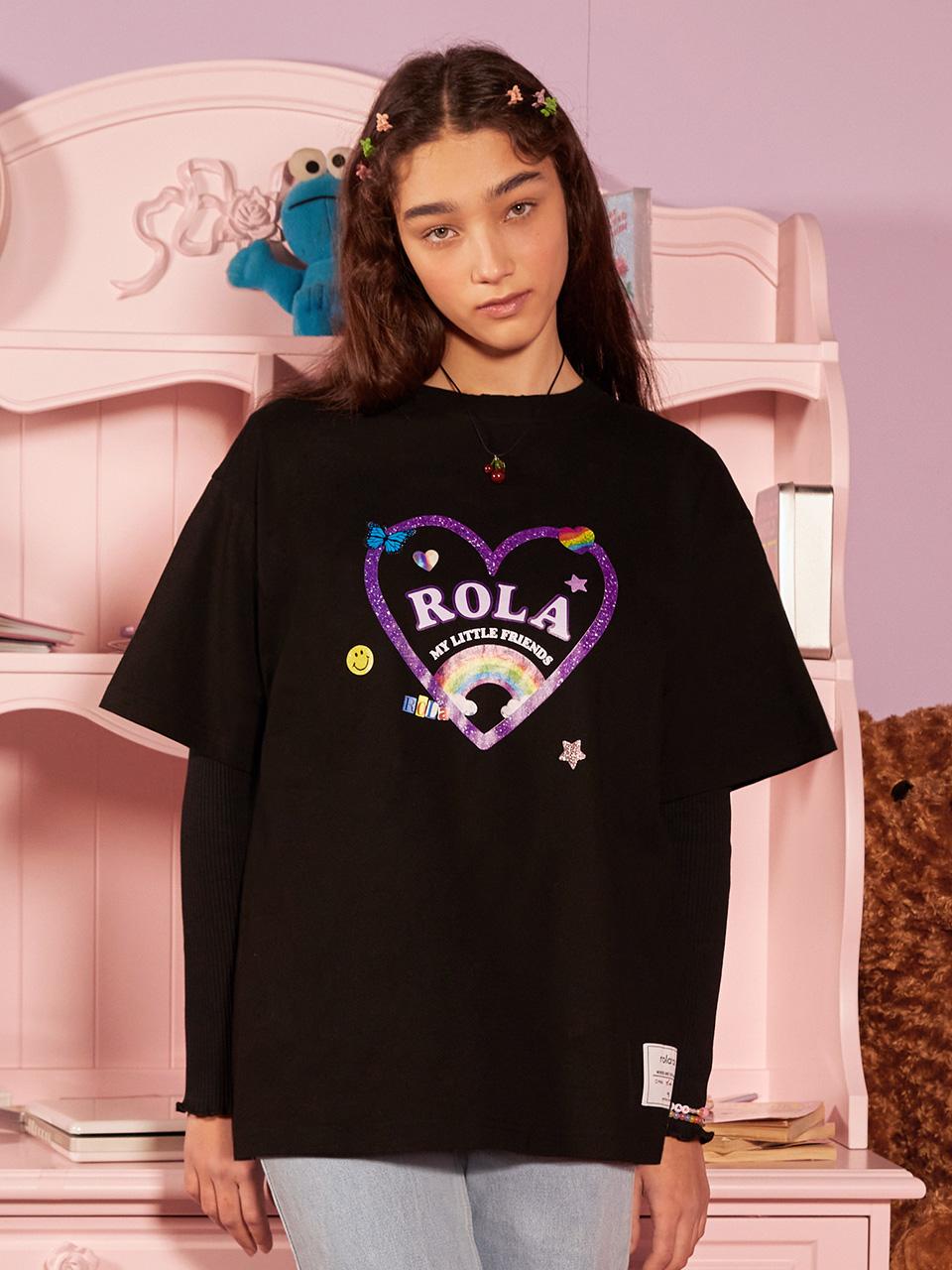 (TS-21306) ROLA RAINBOW HEART T-SHIRT BLACK