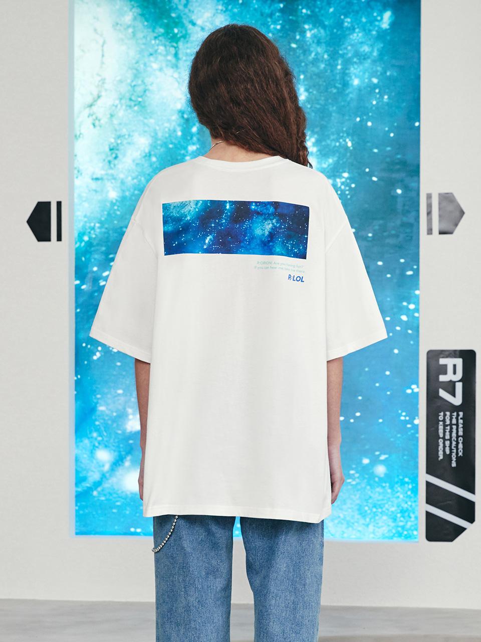 (TS-21324) R:LOL BACK PRINT GALAXY T-SHIRT WHITE